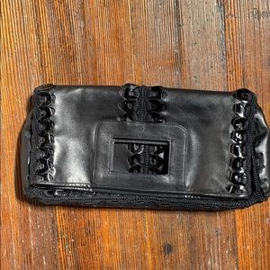 Gianni Versace black leather crochet handbag